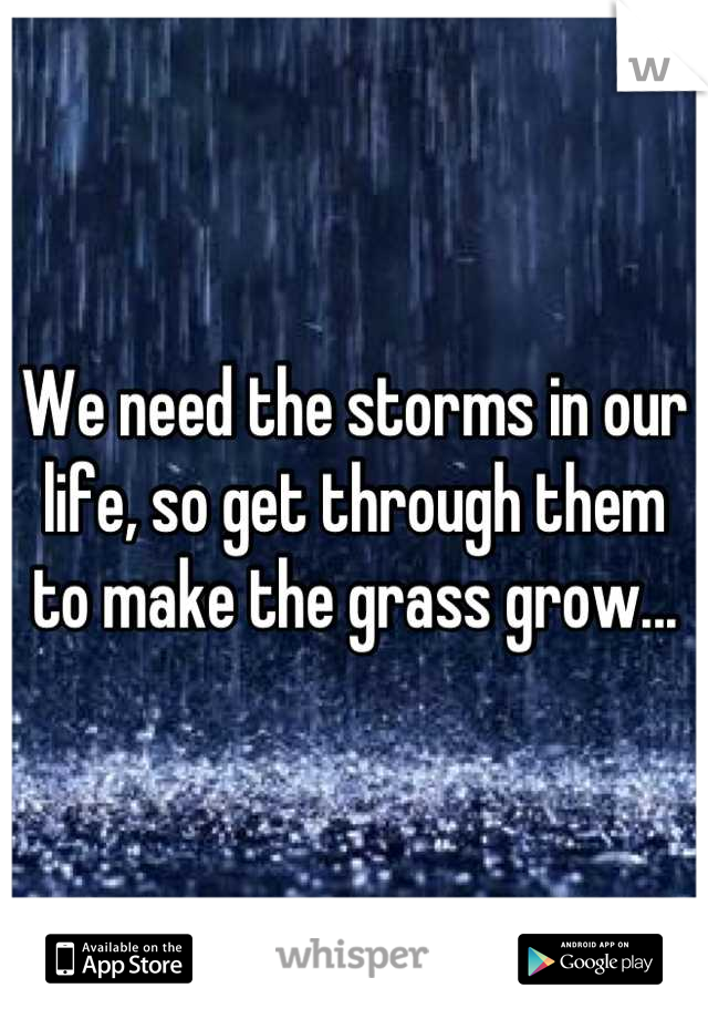 We need the storms in our life, so get through them to make the grass grow...