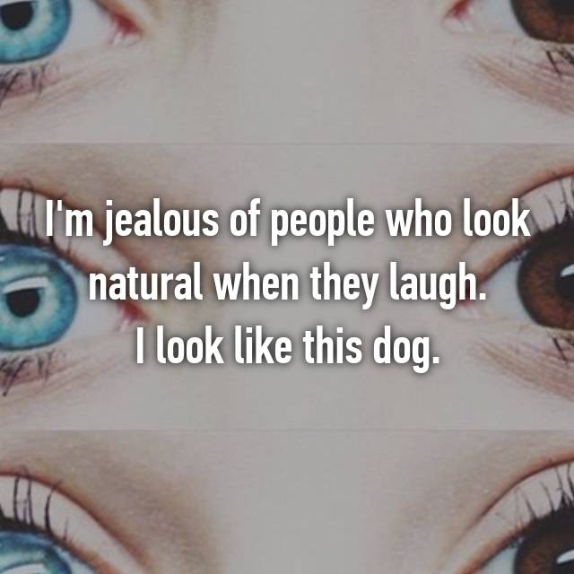 I'm jealous of people who look natural when they laugh. I look like this dog.