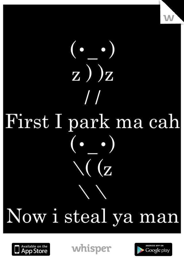 (•_•) z ) )z / / First I park ma cah (•_•) \( (z \ \ Now i steal ya man