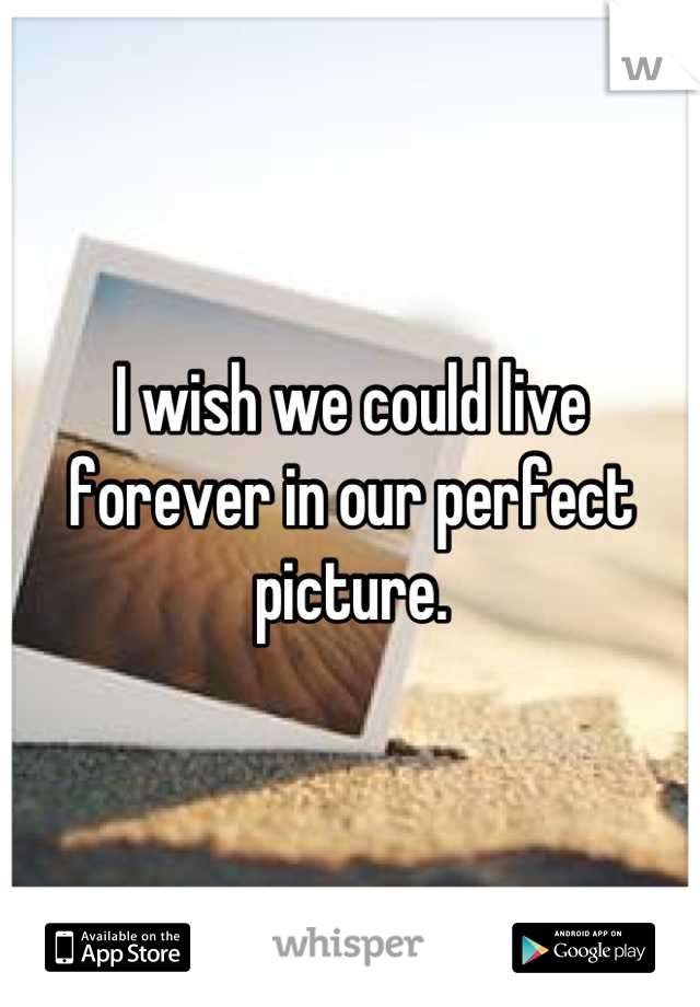 I wish we could live forever in our perfect picture.