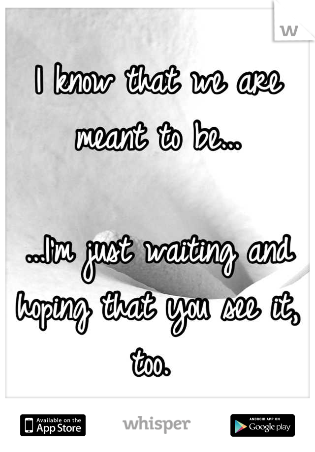 I know that we are meant to be...  ...I'm just waiting and hoping that you see it, too.