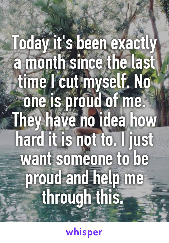 Today it's been exactly a month since the last time I cut myself. No one is proud of me. They have no idea how hard it is not to. I just want someone to be proud and help me through this.