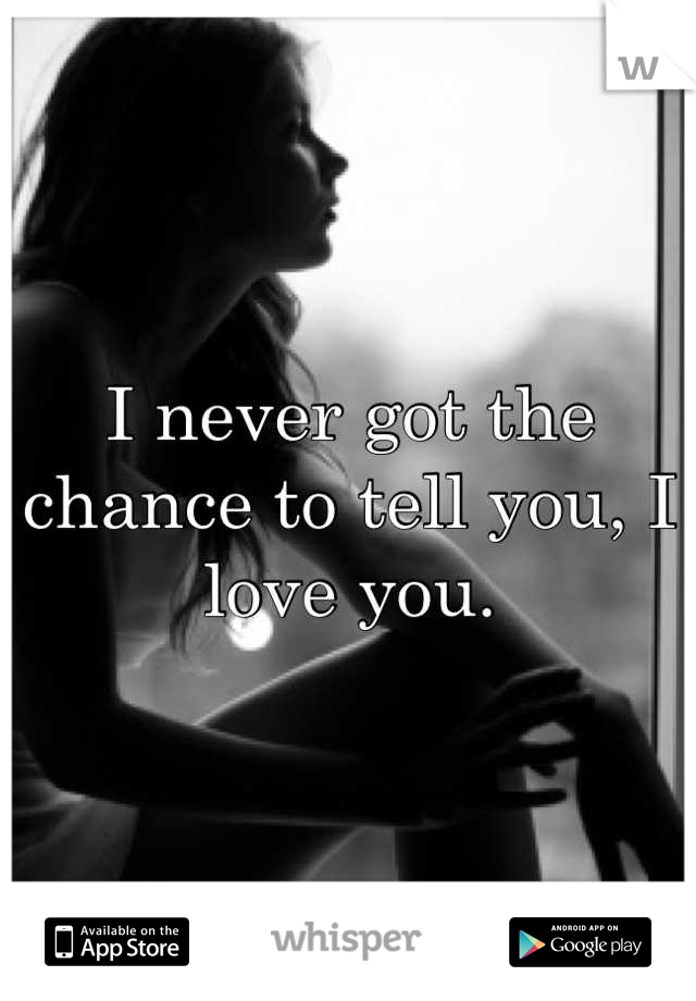 I never got the chance to tell you, I love you.