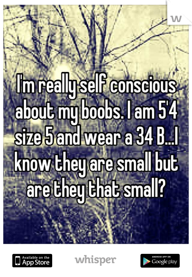 I'm really self conscious about my boobs. I am 5'4 size 5 and wear a 34 B...I know they are small but are they that small?