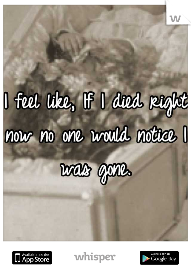 I feel like, If I died right now no one would notice I was gone.