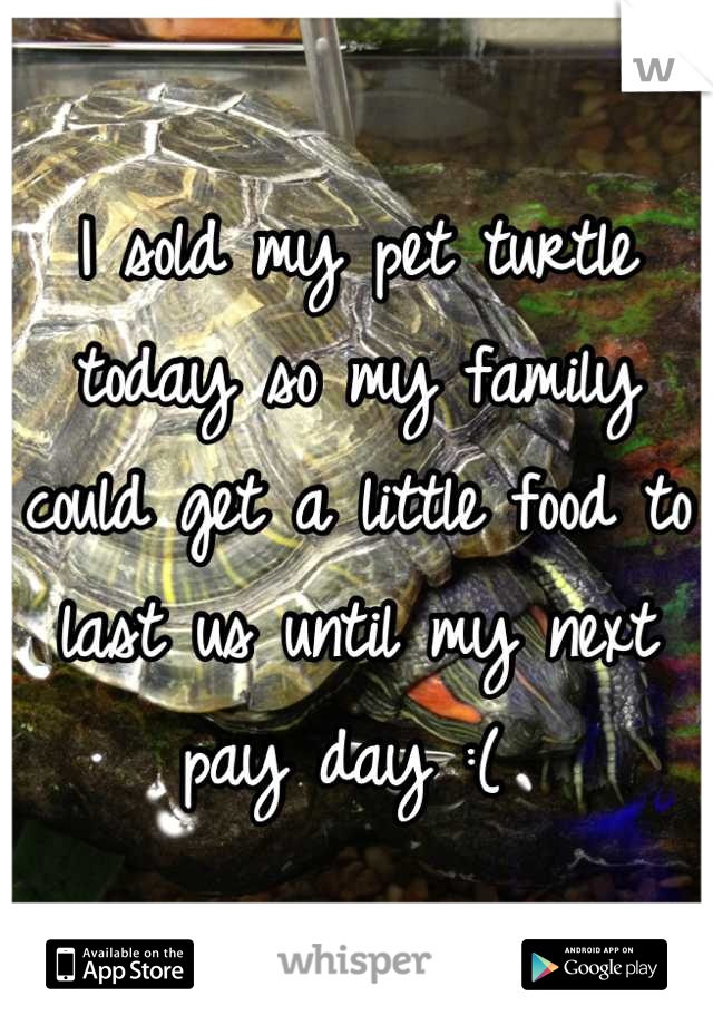 I sold my pet turtle today so my family could get a little food to last us until my next pay day :(