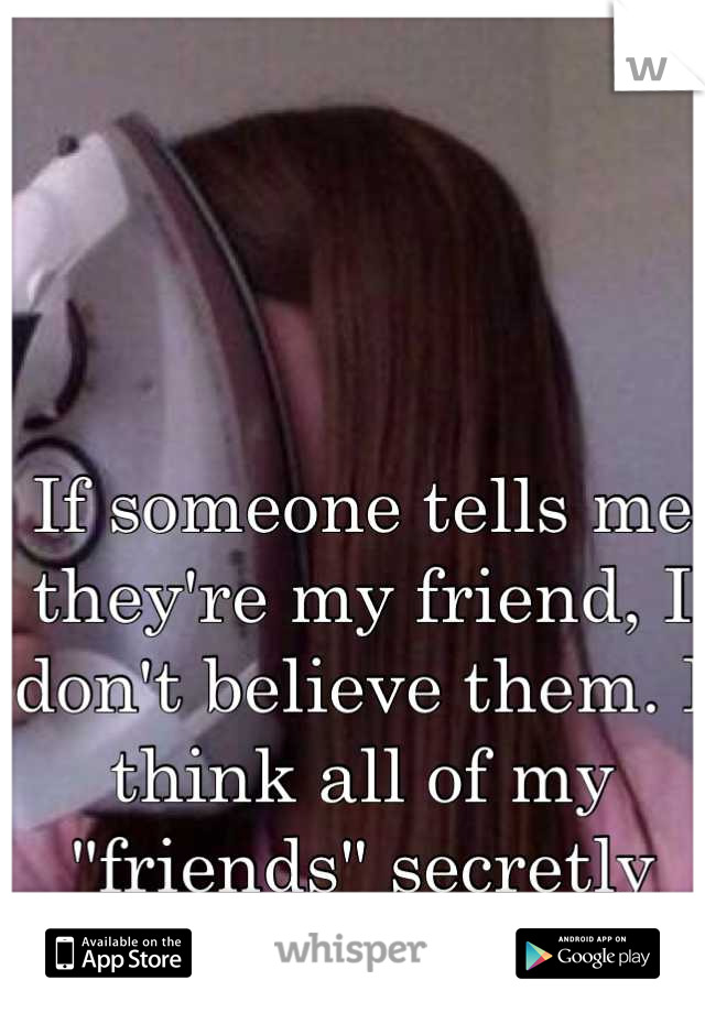 """If someone tells me they're my friend, I don't believe them. I think all of my """"friends"""" secretly hate me."""