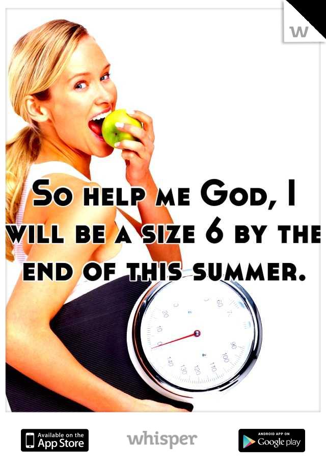 So help me God, I will be a size 6 by the end of this summer.