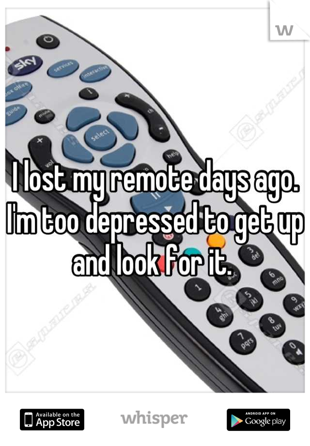 I lost my remote days ago. I'm too depressed to get up and look for it.