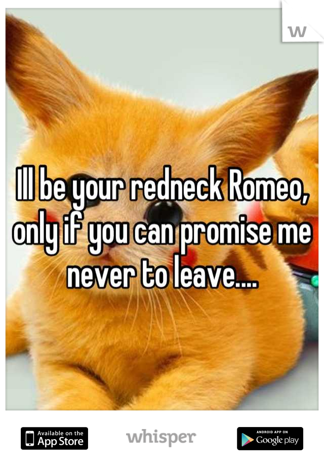 Ill be your redneck Romeo, only if you can promise me never to leave....