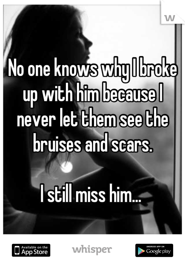 No one knows why I broke up with him because I never let them see the bruises and scars.   I still miss him...