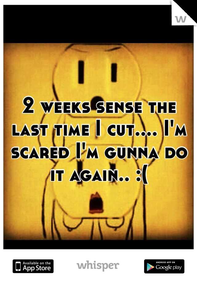 2 weeks sense the last time I cut.... I'm scared I'm gunna do it again.. :(