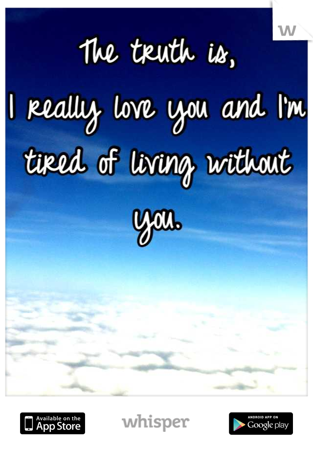 The truth is,  I really love you and I'm tired of living without you.