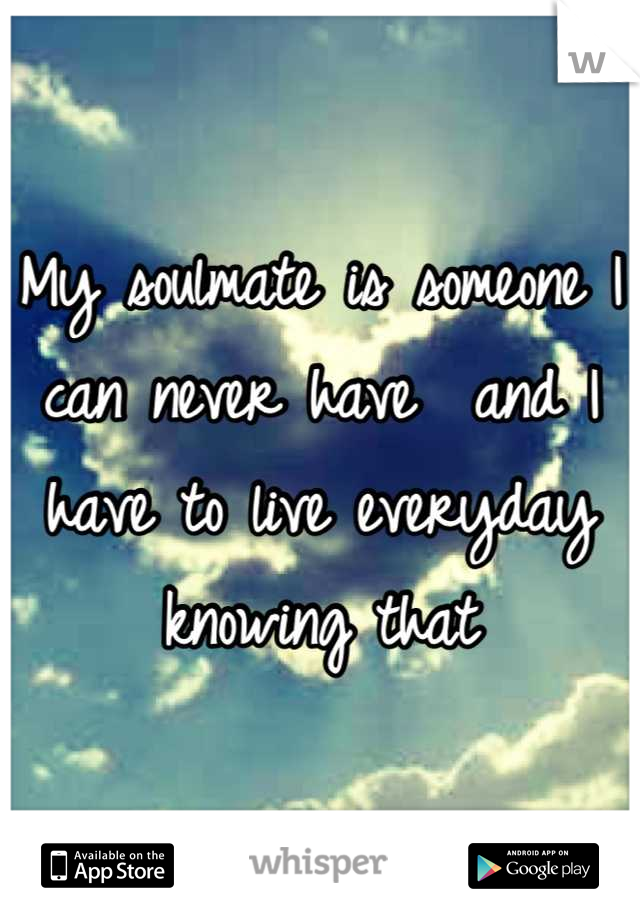 My soulmate is someone I can never have  and I have to live everyday knowing that