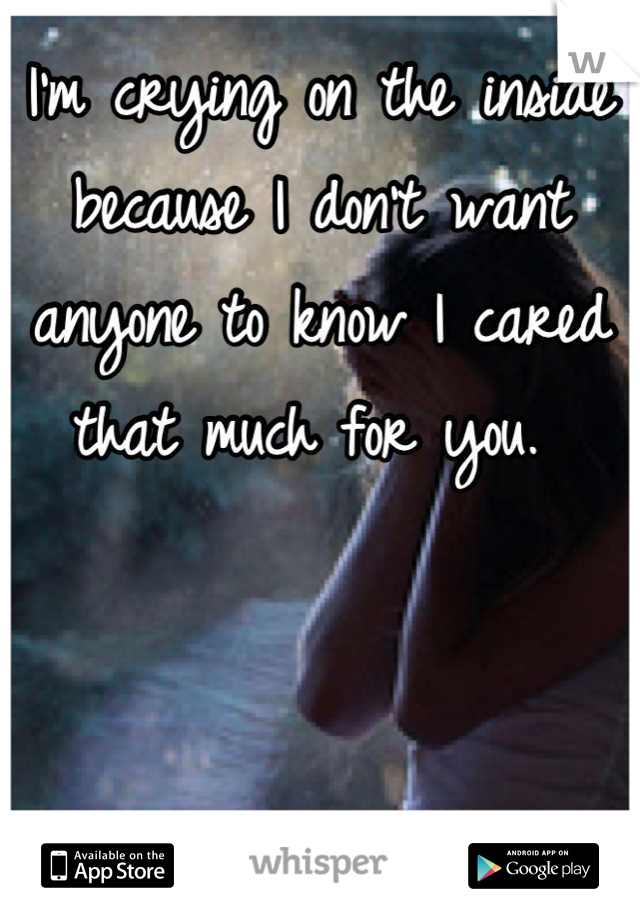 I'm crying on the inside because I don't want anyone to know I cared that much for you.
