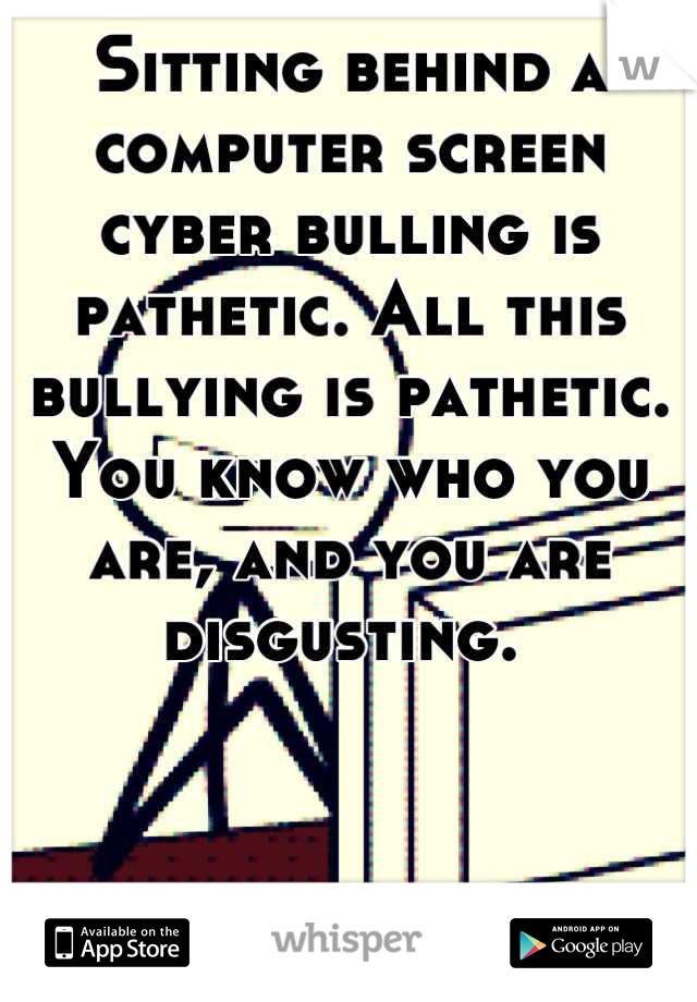 Sitting behind a computer screen cyber bulling is pathetic. All this bullying is pathetic. You know who you are, and you are disgusting.