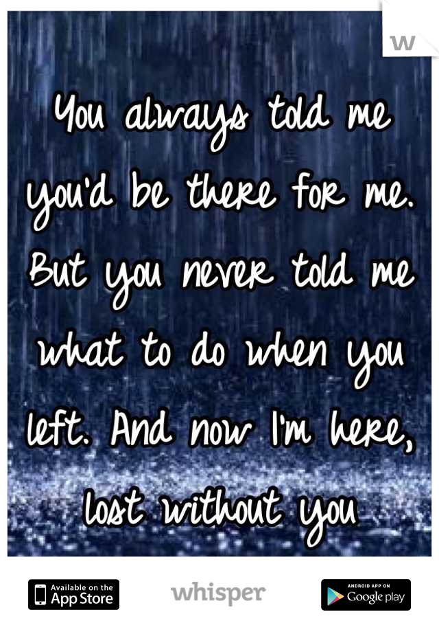 You always told me you'd be there for me. But you never told me what to do when you left. And now I'm here, lost without you