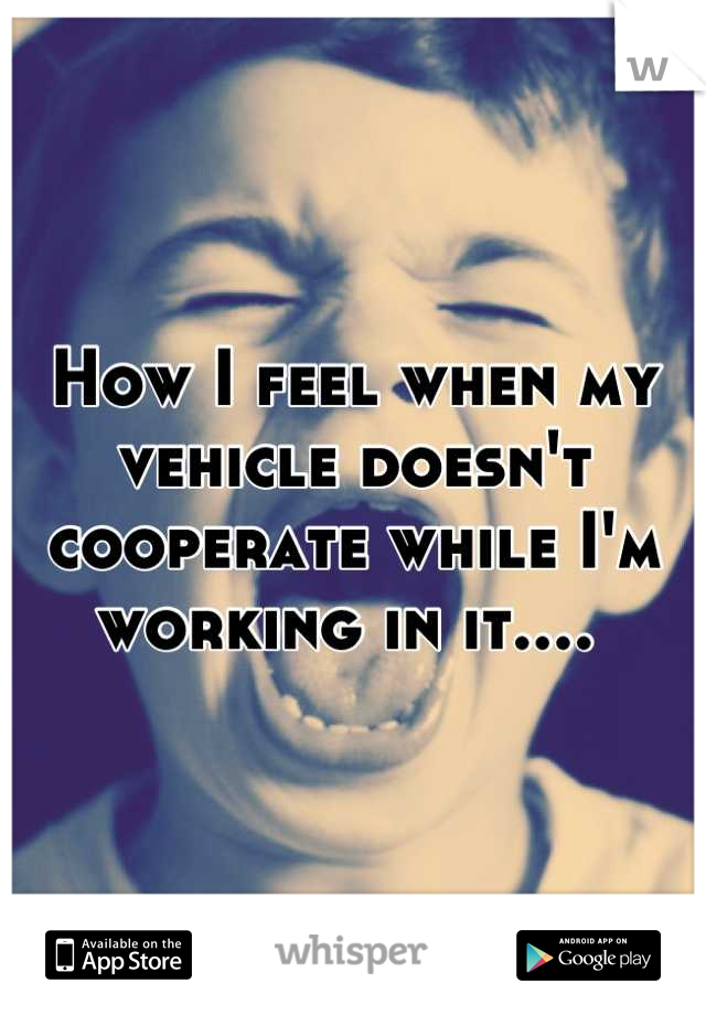 How I feel when my vehicle doesn't cooperate while I'm working in it....