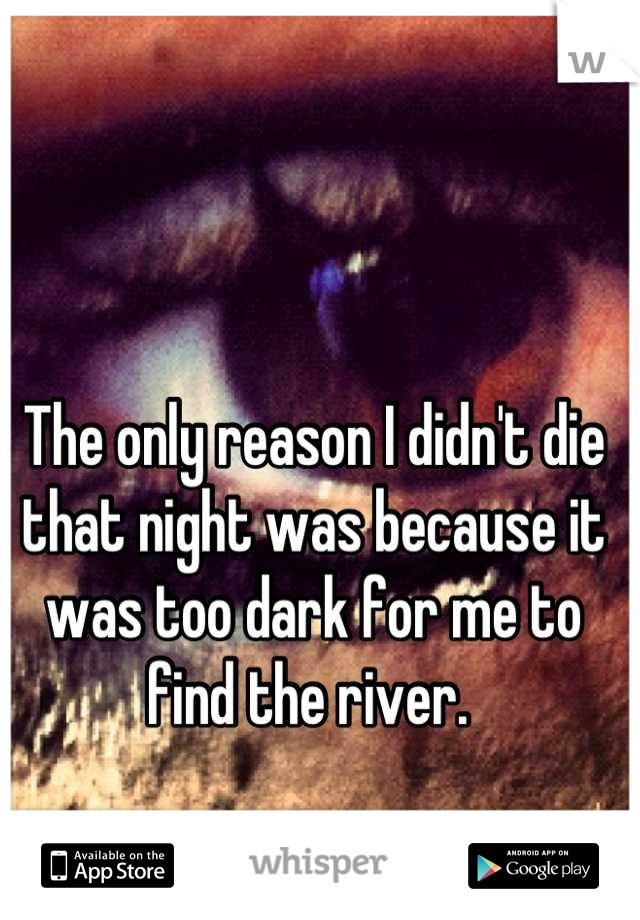 The only reason I didn't die that night was because it was too dark for me to find the river.