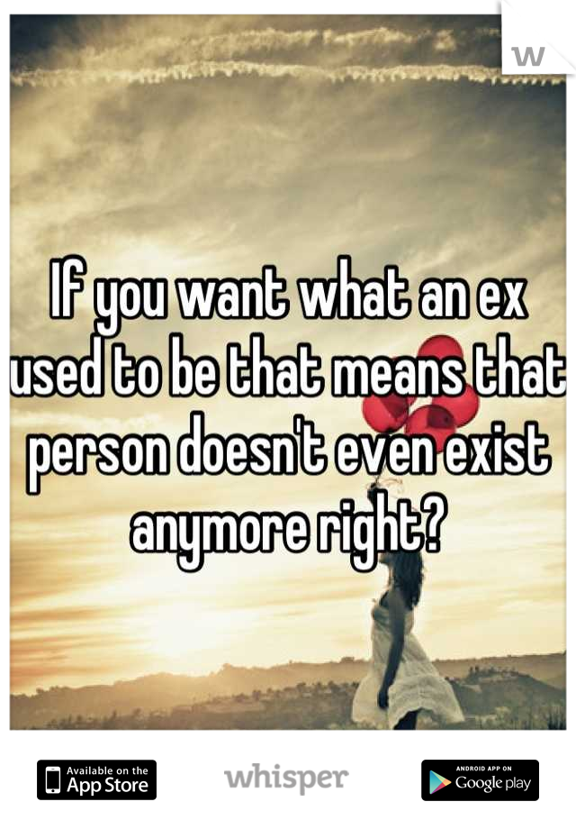 If you want what an ex used to be that means that person doesn't even exist anymore right?