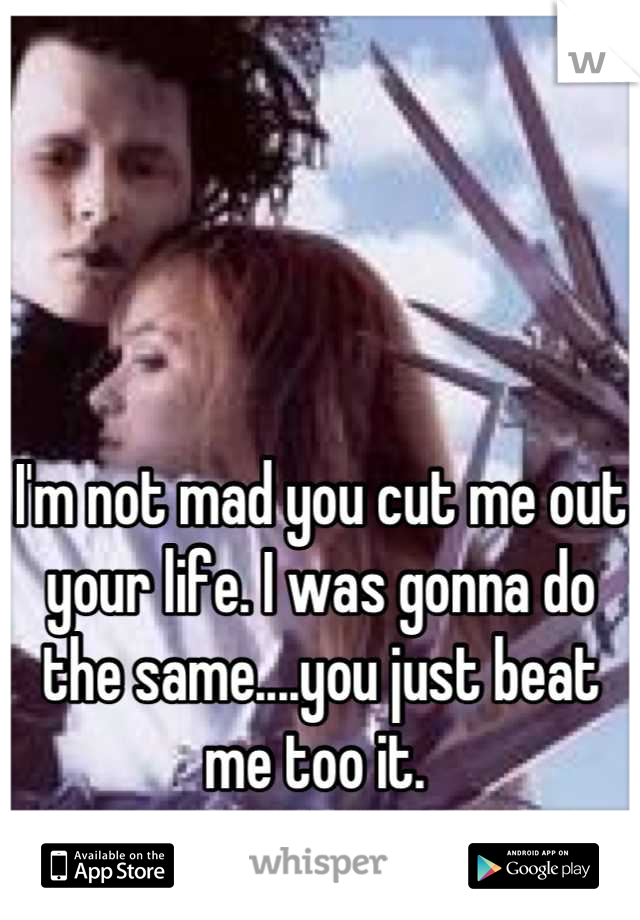 I'm not mad you cut me out your life. I was gonna do the same....you just beat me too it.