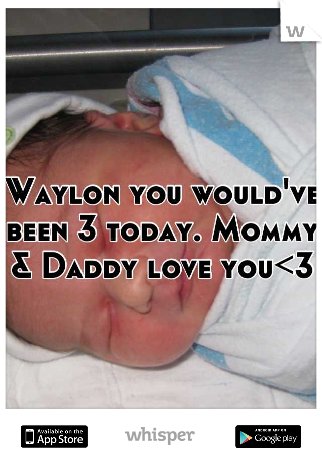 Waylon you would've been 3 today. Mommy & Daddy love you<3