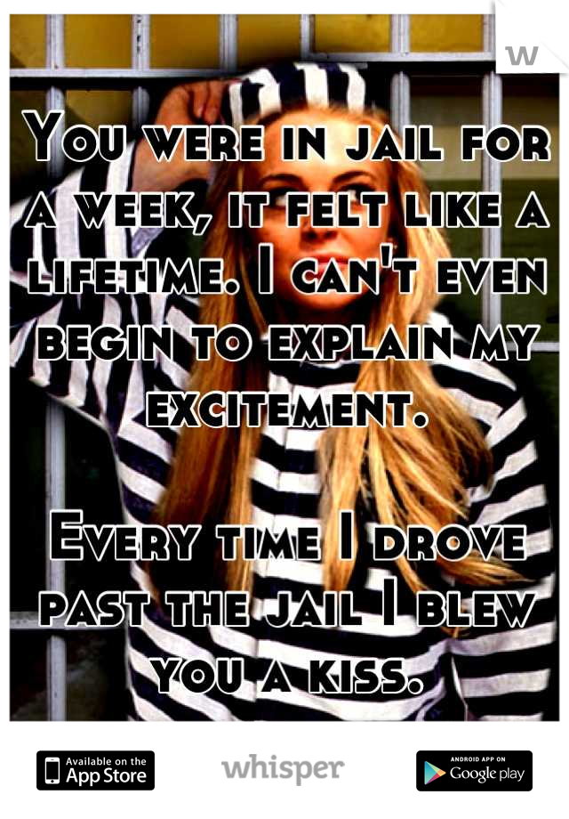 You were in jail for a week, it felt like a lifetime. I can't even begin to explain my excitement.  Every time I drove past the jail I blew you a kiss.