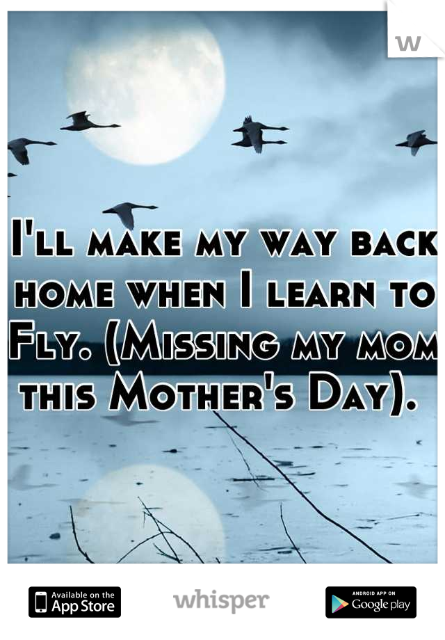 I'll make my way back home when I learn to Fly. (Missing my mom this Mother's Day).