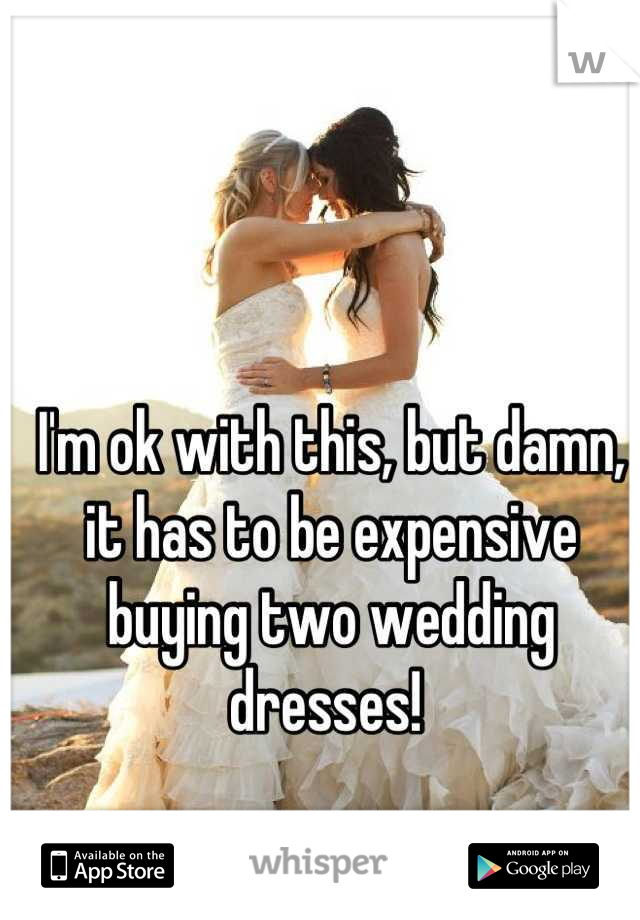 I'm ok with this, but damn, it has to be expensive buying two wedding dresses!