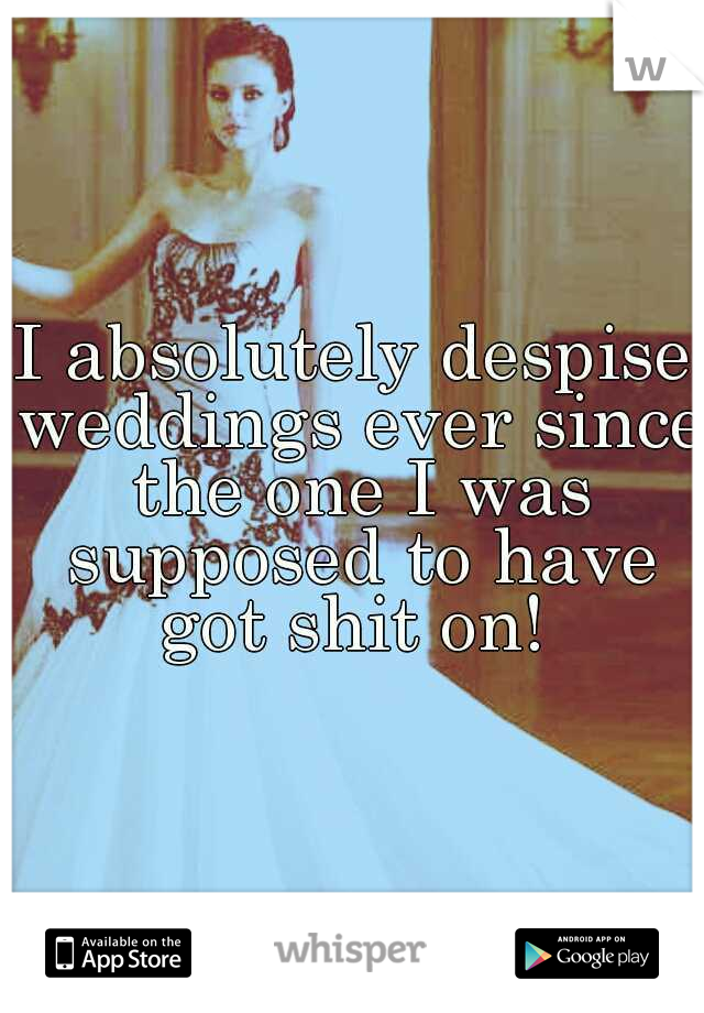 I absolutely despise weddings ever since the one I was supposed to have got shit on!