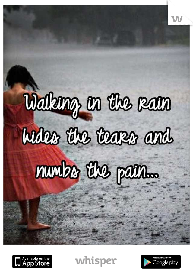 Walking in the rain hides the tears and numbs the pain...