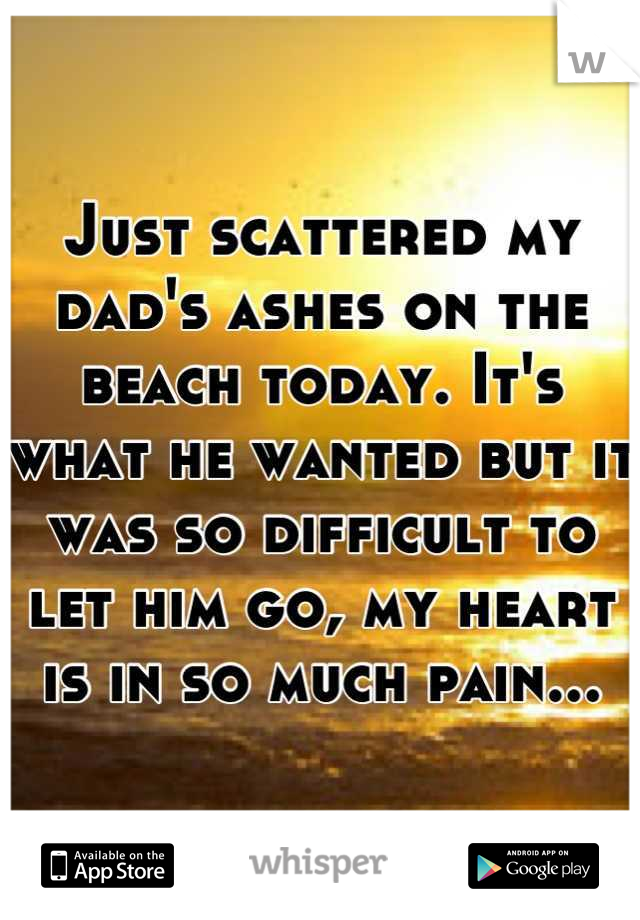 Just scattered my dad's ashes on the beach today. It's what he wanted but it was so difficult to let him go, my heart is in so much pain...