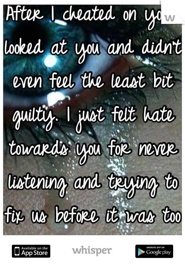 After I cheated on you I looked at you and didn't even feel the least bit guilty. I just felt hate towards you for never listening and trying to fix us before it was too late.