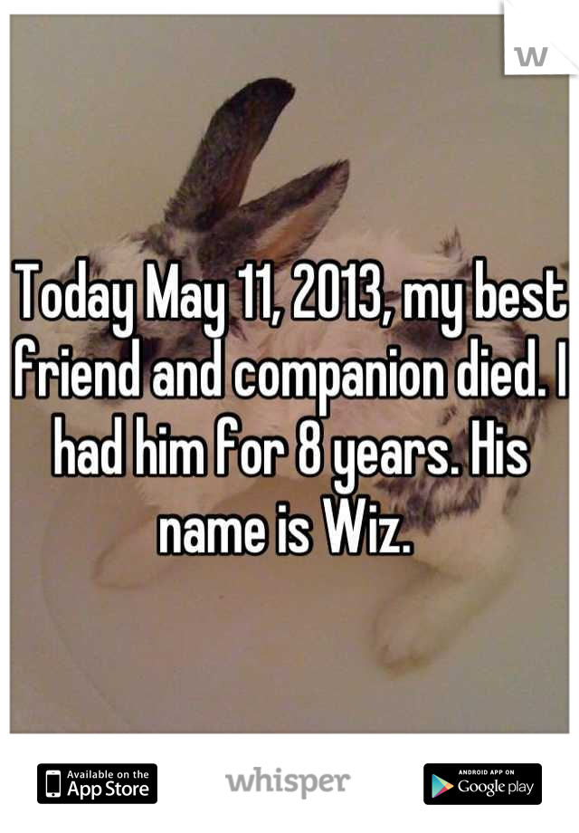 Today May 11, 2013, my best friend and companion died. I had him for 8 years. His name is Wiz.