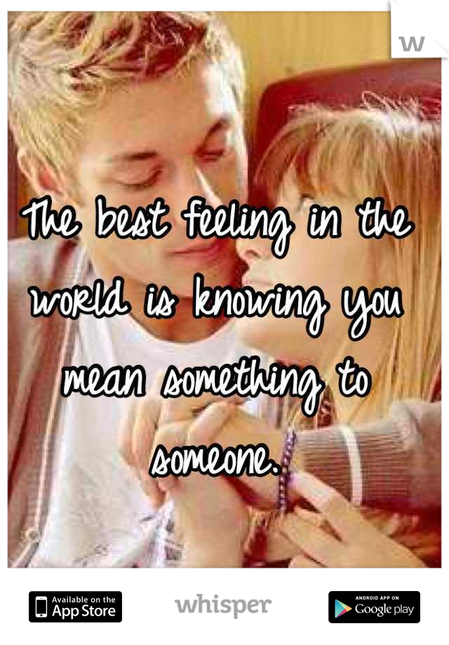 The best feeling in the world is knowing you mean something to someone.