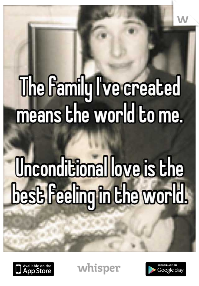 The family I've created means the world to me.  Unconditional love is the best feeling in the world.