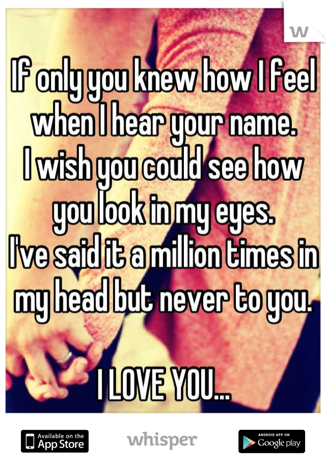 If only you knew how I feel when I hear your name.  I wish you could see how you look in my eyes.  I've said it a million times in my head but never to you.   I LOVE YOU...