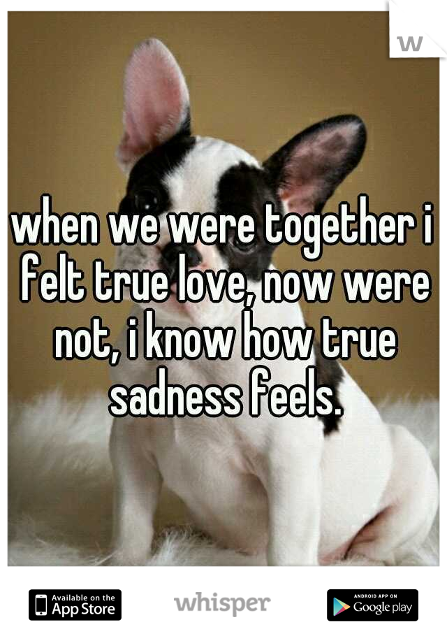when we were together i felt true love, now were not, i know how true sadness feels.