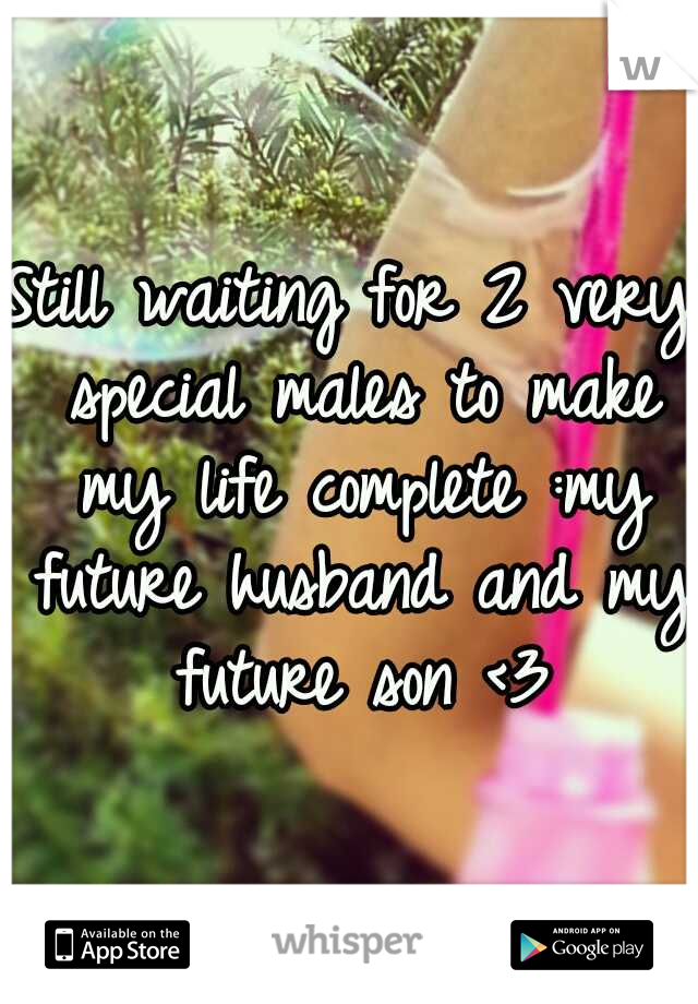 Still waiting for 2 very special males to make my life complete :my future husband and my future son <3