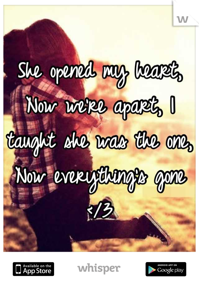 She opened my heart, Now we're apart, I taught she was the one, Now everything's gone </3