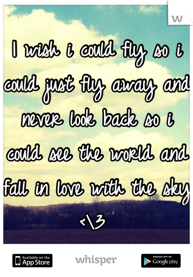 I wish i could fly so i could just fly away and never look back so i could see the world and fall in love with the sky <\3