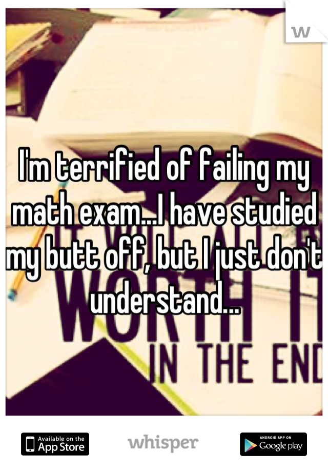 I'm terrified of failing my math exam...I have studied my butt off, but I just don't understand...