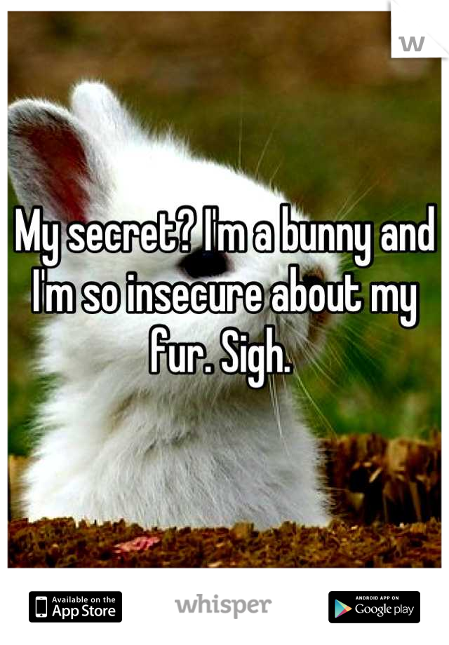 My secret? I'm a bunny and I'm so insecure about my fur. Sigh.
