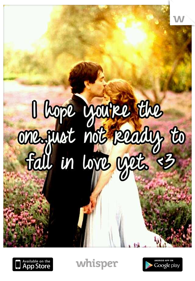 I hope you're the one..just not ready to fall in love yet. <3