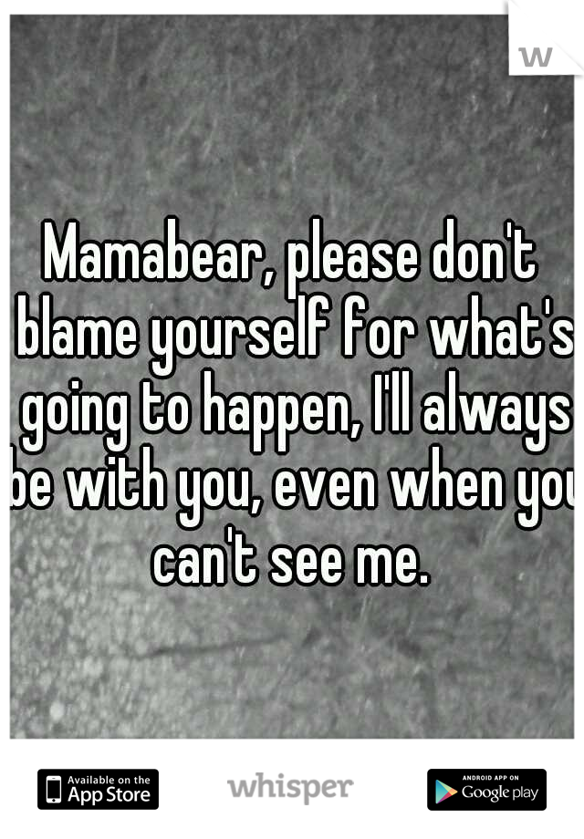 Mamabear, please don't blame yourself for what's going to happen, I'll always be with you, even when you can't see me.