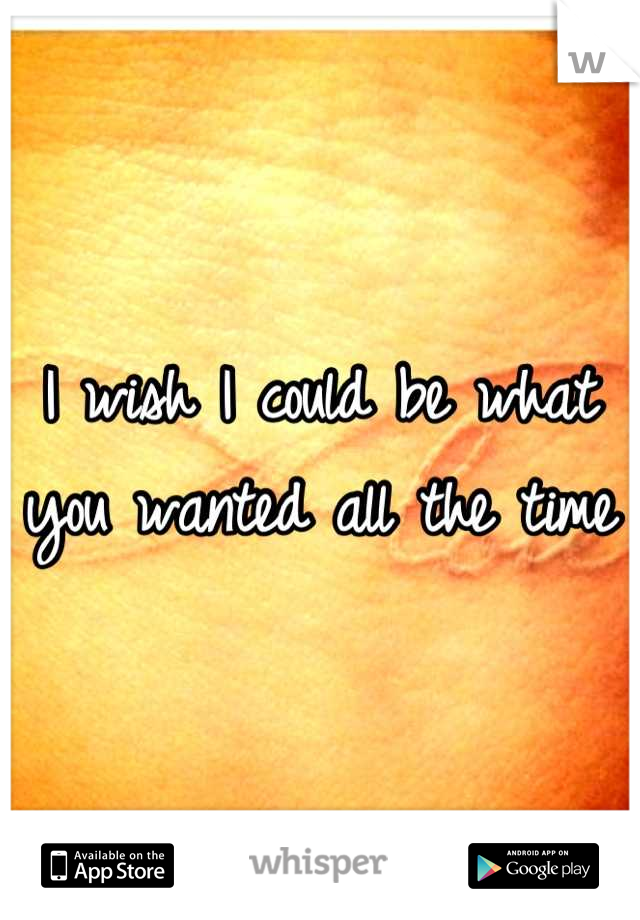 I wish I could be what you wanted all the time