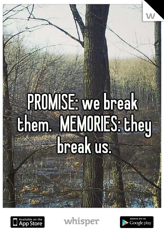 PROMISE: we break them. MEMORIES: they break us.