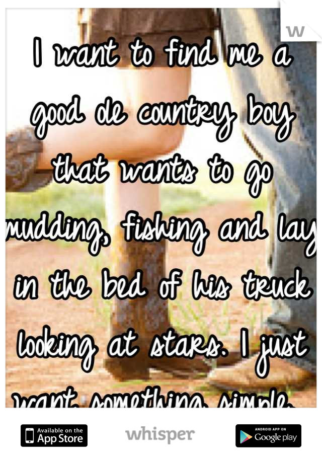 I want to find me a good ole country boy that wants to go mudding, fishing and lay in the bed of his truck looking at stars. I just want something simple.