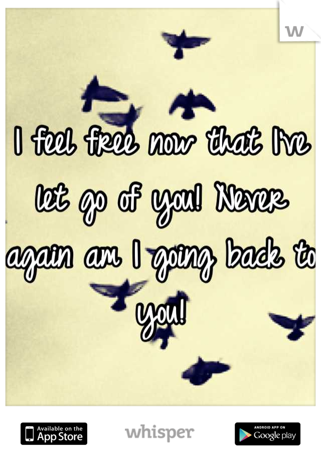 I feel free now that I've let go of you! Never again am I going back to you!