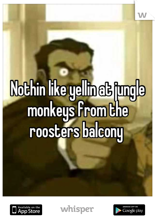 Nothin like yellin at jungle monkeys from the roosters balcony